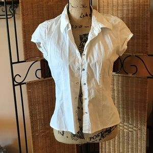 White Short Sleeve Button Down with Snaps
